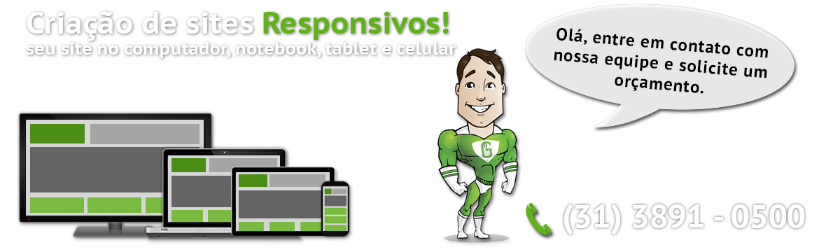 Criação de sites responsivos - Seu site no computador, notbook tablet e celular